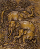 Ivory Carving of Asian Elephants - Thailand. Ivory carving of a group of Asian Elephants - Thailand Royalty Free Stock Photo