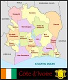 Ivory Coast Administrative divisions Royalty Free Stock Photography