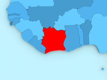 Ivory Coast on 3D map Royalty Free Stock Photo
