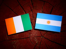 Ivory Coast flag with Argentinian flag on a tree stump. Ivory Coast flag with Argentinian flag on a tree stump Royalty Free Stock Photos