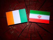 Ivory Coast flag with Iranian flag on a tree stump isolated. Ivory Coast flag with Iranian flag on a tree stump Royalty Free Stock Photography