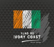 Ivory Coast flag, vector sketch hand drawn illustration on dark grunge background Illustration de Vecteur