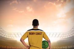 Ivory coast football player holding ball Royalty Free Stock Photography