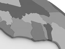 Ivory Coast, Ghana and Burkina Faso on grey 3D map Stock Images