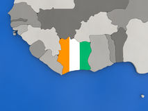 Ivory Coast on globe Royalty Free Stock Photos