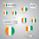 Ivory Coast icon set of flags Stock Image