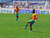 Ivory coast and Japan football match Stock Image