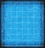 Ivory Coast map blue print artwork illustration silhouette Royalty Free Stock Images