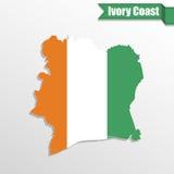 Ivory Coast map with flag inside and ribbon Stock Image