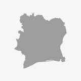 Ivory Coast map in gray on a white background Royalty Free Stock Images
