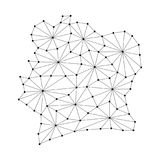 Ivory Coast map of polygonal mosaic lines network, rays, dots  illustration. Stock Photo