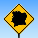 Ivory Coast map on road sign. Square poster with Ivory Coast country map on yellow rhomb road sign. Vector illustration Royalty Free Stock Photography