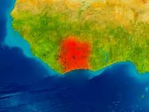 Ivory Coast on physical map Royalty Free Stock Photos
