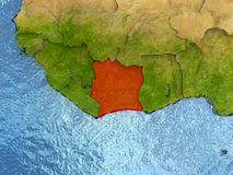 Ivory Coast in red Stock Image