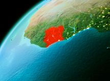 Ivory Coast from space in evening. Evening over Ivory Coast as seen from space on planet Earth. 3D illustration. Elements of this image furnished by NASA Stock Image