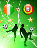Ivory Coast versus Portugal on Abstract Green Stars Background Stock Image