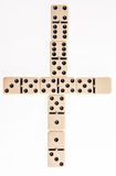 Ivory domino pieces. View from top on white background Stock Photos