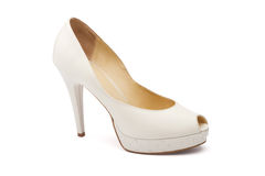 Ivory female wedding footwear Royalty Free Stock Photo