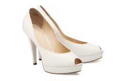 Ivory female wedding footwear Stock Image