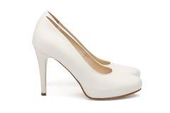Ivory female wedding footwear Stock Images
