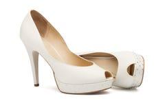 Ivory female wedding footwear Stock Photography