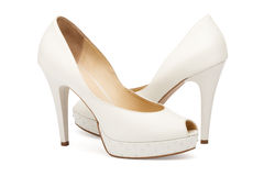Ivory female wedding footwear Royalty Free Stock Image