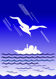 Ivory gull and white boat. Ivory gull flies over a white warship Royalty Free Stock Photo