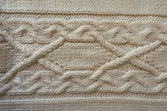 Ivory handmade knitwork with horizontal plait pattern. From above Stock Photos