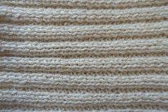 Ivory handmade rib knit fabric with horizontal wales Stock Images
