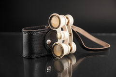 Ivory opera glasses with cover on dark background Stock Images