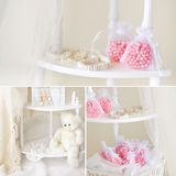 Ivory and pink still life collage Stock Images