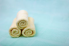 Ivory Spa towels Stock Photos