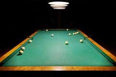 Billiard balls on a green pool table stock photos
