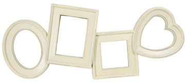 Ivory wooden photo frame Stock Image