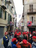 Ivrea, Italy. March 03 2019. Traditional carnival with oranges battle. Traditional carnival parade in piedmont italy, ancient orange battle stock photo