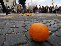 Ivrea, Italy. March 03 2019. Traditional carnival with oranges battle. Traditional carnival parade in piedmont italy, ancient orange battle stock photography
