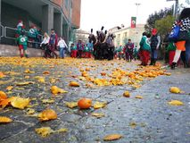 Ivrea, Italy. March 03 2019. Traditional carnival with oranges battle. Traditional carnival parade in piedmont italy, ancient orange battle stock images