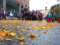 Ivrea, Italy. March 03 2019. Traditional carnival with oranges battle. Traditional carnival parade in piedmont italy, ancient orange battle royalty free stock image