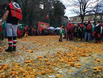 Ivrea, Italy. March 03 2019. Traditional carnival with oranges battle. Traditional carnival parade in piedmont italy, ancient orange battle royalty free stock photo