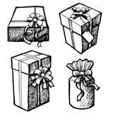 Ivrogne des boîte-cadeau grunges de Noël Photographie stock libre de droits