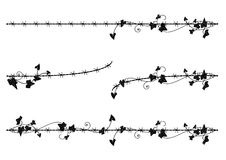 Ivy border with barbed wire. Set of vector vignette with ivy and barbed wire Stock Photography