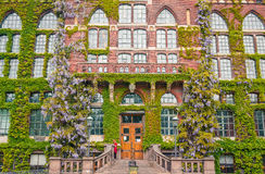 Ivy covered university library of Lund, Sweden. Student at staircase in front of university library stock images