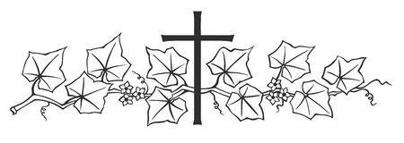 Ivy and cross. Simplified illustration of cross with ivy for decoration Stock Photos