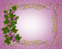 Ivy Floral design border with gold frame Royalty Free Stock Photo