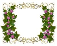 Ivy Floral design border with gold frame Stock Image
