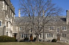 Ivy League College Building--Princeton University. An old stone dormitory at Princeton University, typical of the ivy-covered halls of old colleges.  Students' Royalty Free Stock Photography