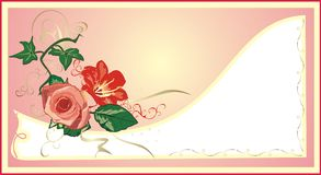 Ivy, lily and rose. Holiday's card vector illustration