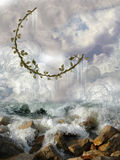 Ivy moon. With rocks and waves Stock Photography