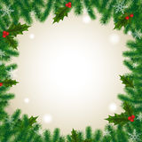 Ivy needles background holidays celebrations. Ivy, berries and needles background illustration. Winter holidays and celebrations concept. Empty copyspace for stock illustration