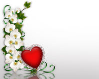 Ivy and Orchids and 3D Red Heart Stock Photo
